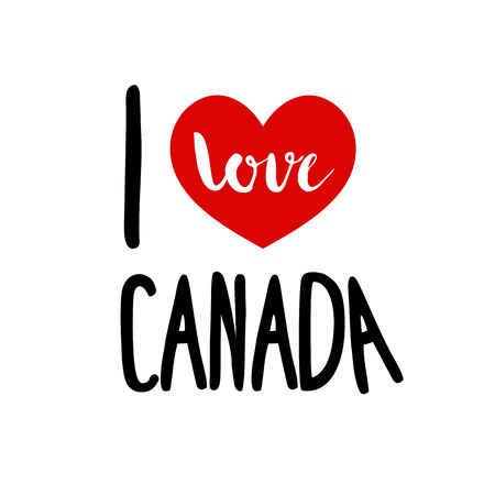 i love canada: I love Canada. Patriotic red heart simple symbol white background. Calligraphic inscription, lettering, hand drawn, vector illustration greeting.