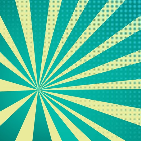 Colored Pop-Art Style blue background, Llichtenstein pop art. Pop art comic backdrop sunlight, sun ray space. Funny halftone comics book background template. Vector illustration
