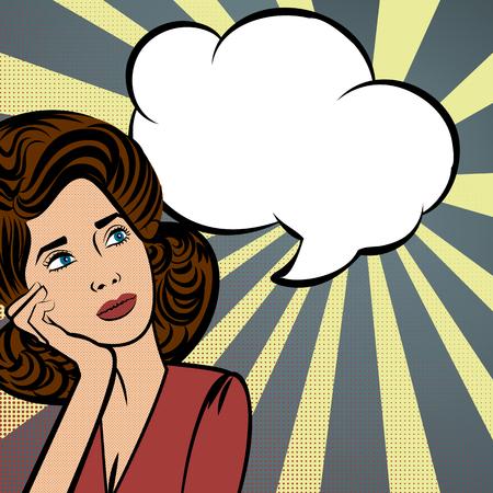 Attractive young brunette woman thinking. Speech colored bubble Pop-Art Style. lichtenstein pop art. Pop art comic blue background space comments background template. Vector illustration