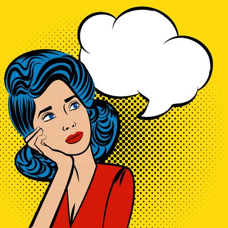 Atractiva mujer de pensamiento joven de pelo azul. Discurso burbuja de color Pop-Art Style. arte pop de Lichtenstein. El arte pop cómico espacio azul de fondo plantilla de comentarios de fondo. ilustración vectorial