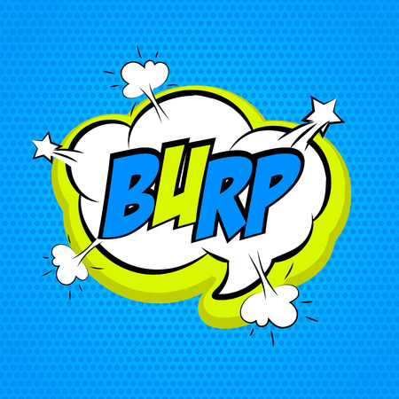 belch: Speech colored cloud bubble Pop-Art Style. Pop art comic blue background space comments burp. Funny balloon comics book template. Vector illustration. Illustration