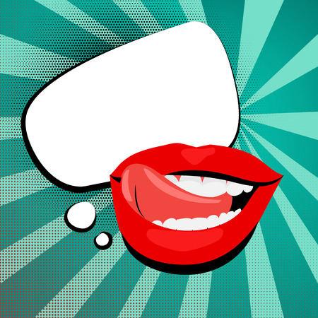 sexy tongue: Vector colored icons, sexy shiny red lips, open mouth, tongue, teeth. White cloud rectangle rounded corners background vintage retro message style pop art. Illustration hand drawn