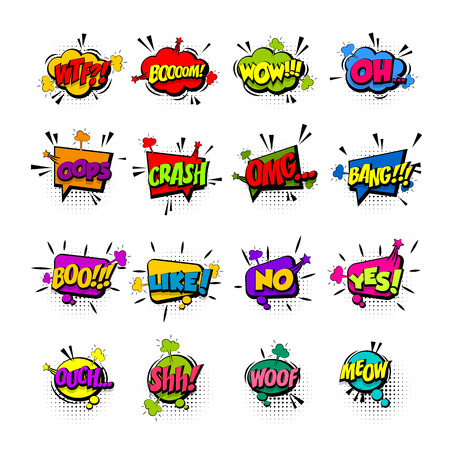 Comic collection colored sound effects pop art vector style. Set sound bubble speech with word and comic cartoon expression sounds illustration. Lettering phrase. Comics book background template. Stock Illustratie