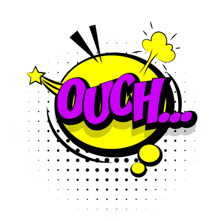 ouch: Comic sound effects pop art vector style. Sound bubble speech with word and comic cartoon expression sounds illustration. Lettering Ouch discomfort. Comics book background template. Illustration