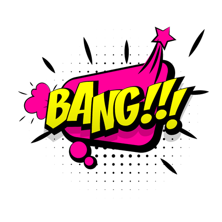 Comic pink sound effects pop art vector style. Sound bubble speech with word and comic cartoon expression sounds illustration. Lettering bang. Comics book background template. Illustration