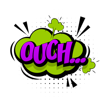 ouch: Comic green sound effects pop art vector style. Sound bubble speech with word and comic cartoon expression sounds illustration. Lettering Ouch discomfort. Comics book background template. Illustration