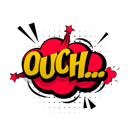 ouch: Comic red sound effects pop art vector style. Sound bubble speech with word and comic cartoon expression sounds illustration. Lettering Ouch discomfort. Comics book background template.
