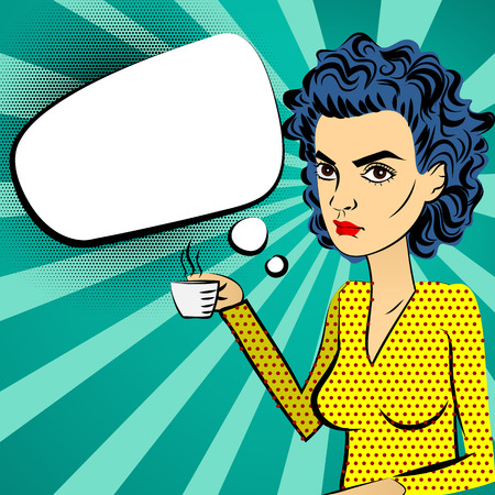 Angry woman with blue hair style pop art sitting, holding hand Cup, drinking coffee. Background with dots and bubble speech cloud for text messages. Good morning girl retro style