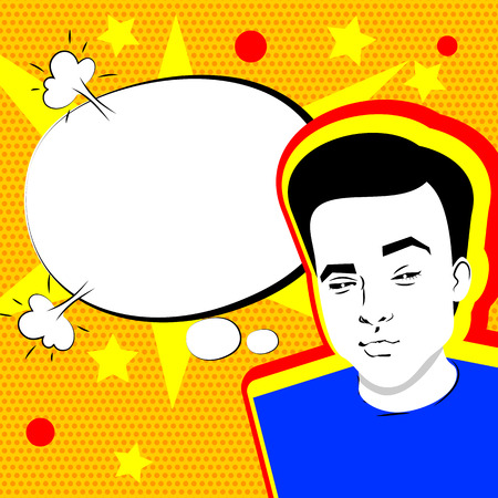 daring: Youth contemporary modern style illustration pop art. Attractive daring young man makes selfie duck face yellow background and speech bubble, dot pattern template.