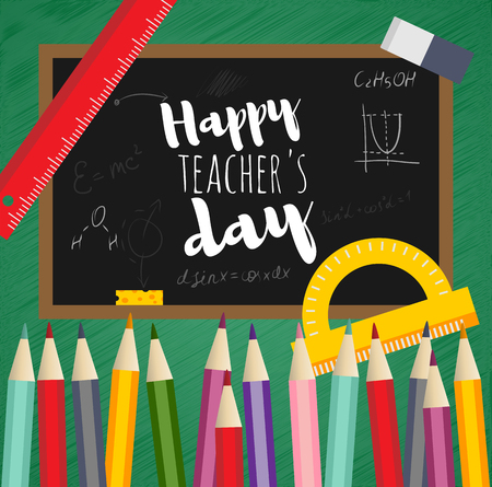Greeting card happy teachers day. Black Board, written chalk, mathematical formula, chemical reaction, vector flat design. Concept template school subjects. Insulated pencil, eraser, protractor, ruler Illustration
