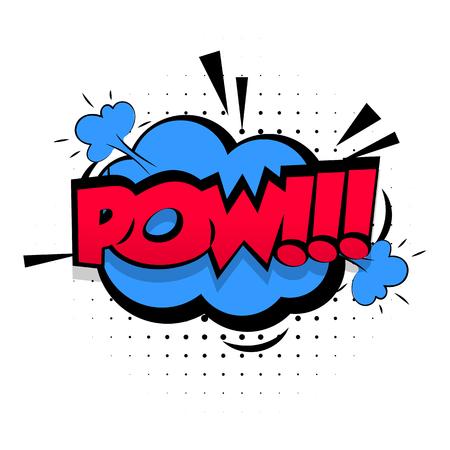 effetti sonori Comic pop stile art. discorso bolla sonora espressione comic suoni illustrazione. Lettering pop art POW. Fumetti modello di libro di sfondo.