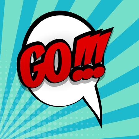 Comic sound effects pop art style phrase GO.