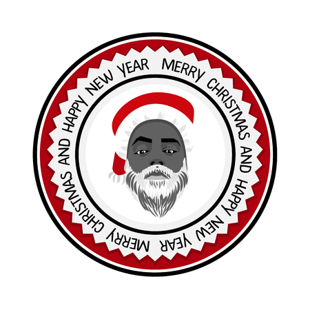 daring: flat daring hipster black Santa Claus fashion label silhouette with wishes Merry Christmas
