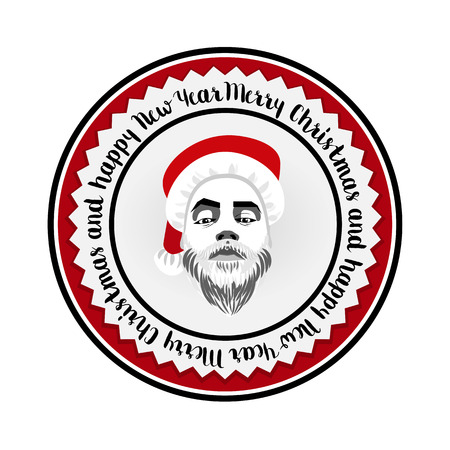 daring: flat daring hipster Santa Claus fashion label silhouette with wishes of Merry Christmas Illustration