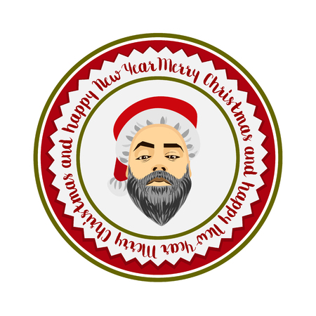 daring: colored flat daring hipster Santa Claus fashion label silhouette with wishes of Merry Christmas