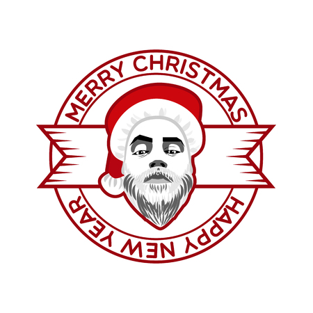 fashion label: hipster Santa Claus fashion label silhouette wishes Merry Christmas