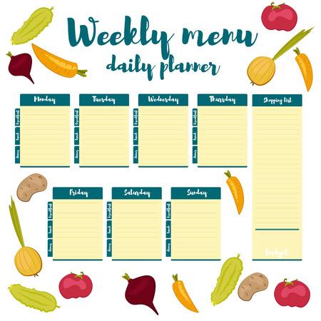 青い色新鮮な紙メモ週健康的な食べて、手描きです。朝食、昼食、夕食。毎週メニュー カレンダーです。ショッピング リスト製品のテンプレートや