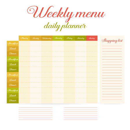 paper note week healthy eating daily routine breakfast lunch dinner weekly menu calendar