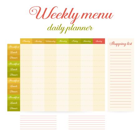 Wöchentliche Speiseplan, Mahlzeiten Tagebuch. Mahlzeiten Zeitplan ...