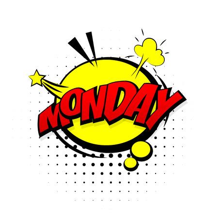 Comic effetti sonori giallo pop stile art. Speech Bubble suono con la parola e di espressione dei cartoni animati fumetti suoni illustrazione. Lettering lunedi settimana. Fumetti modello di libro di sfondo.