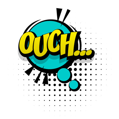 Comic sound effects pop art style. Sound bubble speech with word and comic cartoon expression sounds illustration. Lettering Ouch discomfort. Comics book background template. Illustration