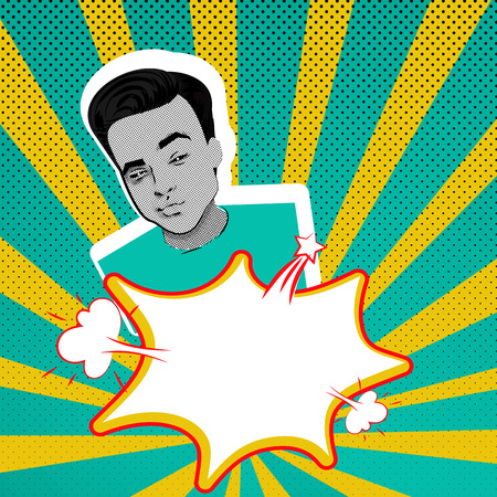 daring: Youth contemporary modern style illustration pop art. Attractive daring young man makes selfie duck face on blue yellow background, star pattern template. Illustration