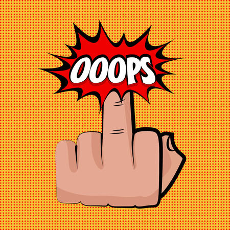 nonverbal: Hand sign middle finger oops comic retro pop art style. Gestures aggressive. Cartoon comic vector colored pictute. Dot hand drawn finger, angry sign. Provocative hand sign. Orange pop art background.