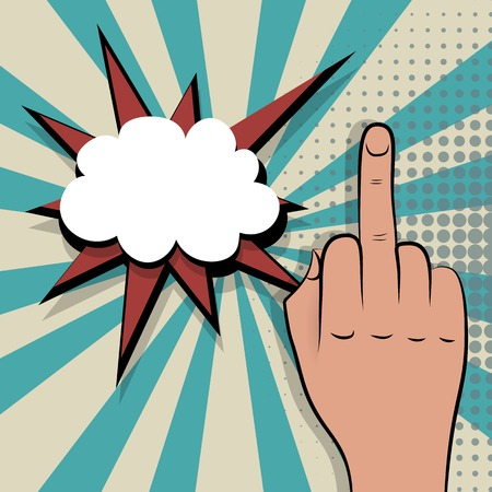 Hand sign middle finger comic retro pop art style white bubble. Gestures aggressive. Cartoon comic vector colored pictute. Dot hand drawn finger, angry sign. Provocative hand sign.