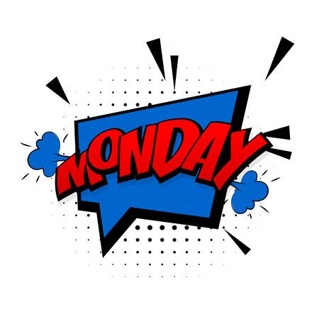 Comic blue effetti sonori pop art stile vettoriale. Il discorso della bolla del suono con la parola e l'espressione comica del fumetto suona l'illustrazione. Lettering lunedì settimana. Modello di sfondo del libro di fumetti.