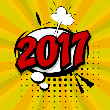 New year 2017. Speech comic bubble text golden background. Pop art style vector illustration. Retro burst expression speech pop art bubble cloud explosion. Boom communication graphic talk humor 向量圖像