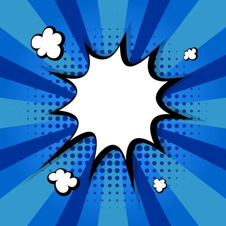 Clear empty boom comic speech bubble Pop Art Style. Colored comic text bubble. Message cloud colorful blue background sticker conversation, dialog. Vector illustration. Colored blue back