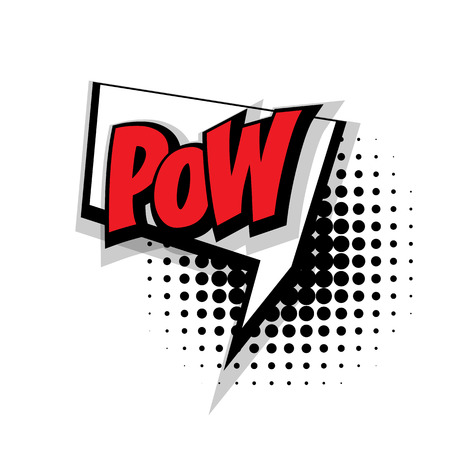 pow: Lettering pow. Comic text sound effects pop art style vector. Sound bubble speech phrase comic text cartoon expression sounds illustration. Comic text background template