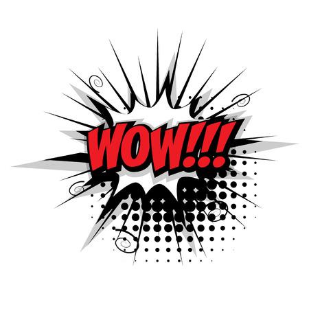 Lettrage wow. Comic effets sonores texte pop vecteur de style art. bubble son discours phrase expression de bande dessinée de texte comique sons illustration. texte Comic modèle de fond Banque d'images - 67221978