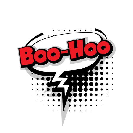 2f5efa93c9 Lettering boo hoo. Comic text sound effects pop art style vector. Sound  bubble speech