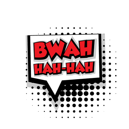 Lettering bwah hah. Comic text sound effects pop art style vector. Sound bubble speech phrase comic text cartoon balloon expression sounds illustration. Comic text background template. Comics book balloon Vektorové ilustrace