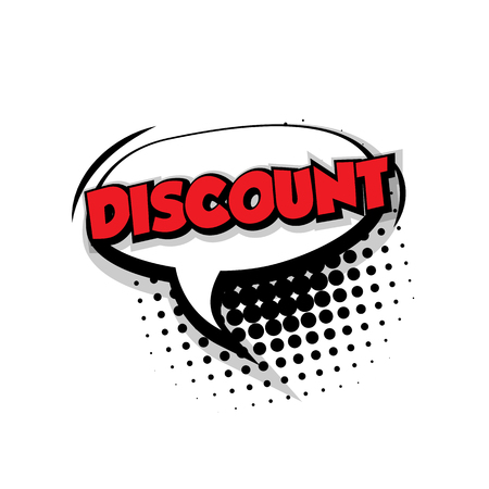 Lettering discount. Comic text sound effects pop art style vector. Sound bubble speech phrase comic text cartoon balloon expression sounds illustration. Comic text background template. Comics book balloon