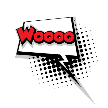 woo: Lettering woo. Comic text sound effects pop art style vector. Sound bubble speech phrase comic text cartoon balloon expression sounds illustration. Comic text background template. Comics book balloon Illustration