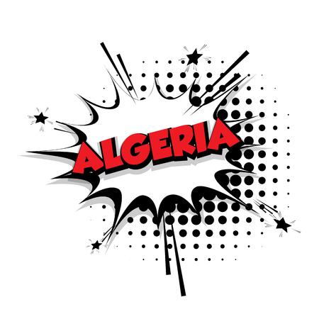 Lettering Algeria Comic text sound effects pop art vector Sound bubble speech phrase cartoon text cartoon balloon expression sounds illustration Comic text background template. Comics book balloon