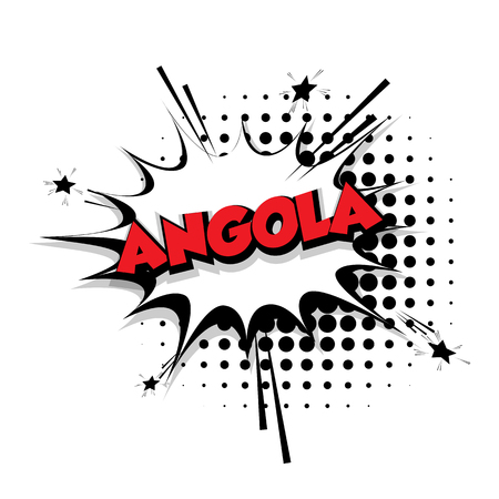 Lettering Angola Comic text sound effects pop art vector Sound bubble speech phrase cartoon text cartoon balloon expression sounds illustration Comic text background template. Comics book balloon