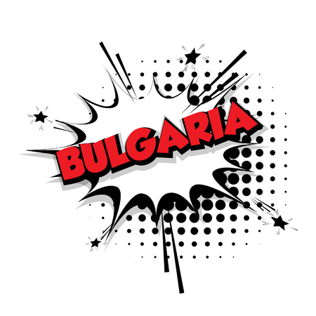 Lettering Bulgaria Comic text sound effects pop art style vector Sound bubble speech phrase cartoon text cartoon balloon expression sounds illustration Comic text background. Comics book balloon
