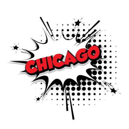 Lettering Chicago Comic text sound effects pop art vector Sound bubble speech phrase cartoon text cartoon balloon expression sounds illustration Comic text background template. Comics book balloon Illustration