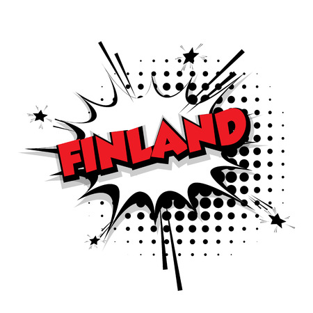Lettering Finland Comic text sound effects pop art vector Sound bubble speech phrase cartoon text cartoon balloon expression sounds illustration Comic text background template. Comics book balloon Illustration