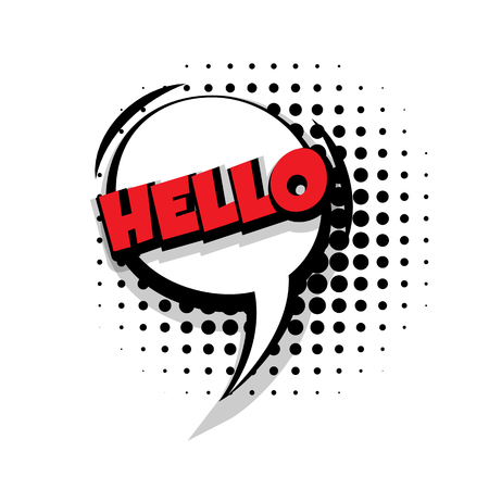 Lettering hello Comic text sound effects pop art style vector Sound bubble speech phrase cartoon text cartoon balloon expression sounds illustration Comic text background template. Comics book balloon