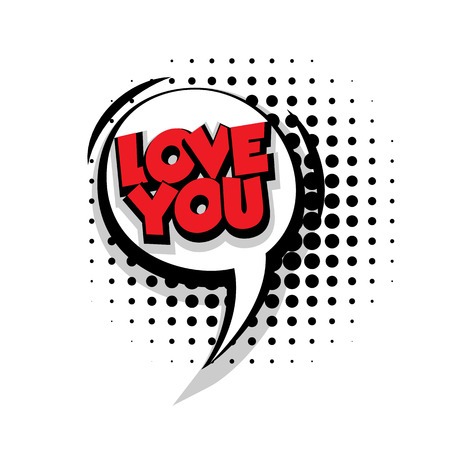 Lettering love you Comic text sound effects pop art vector Sound bubble speech phrase cartoon text cartoon balloon expression sounds illustration Comic text background template. Comics book balloon Illustration