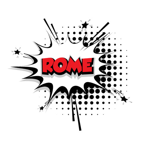Lettering Rome Comic text sound effects pop art style vector Sound bubble speech phrase cartoon text cartoon balloon expression sounds illustration Comic text background template. Comics book balloon
