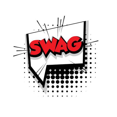 Lettering swag Comic text sound effects pop art style vector Sound bubble speech phrase cartoon text cartoon balloon expression sounds illustration Comic text background template. Comics book balloon