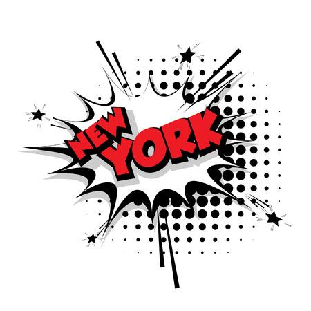 Lettering New York Comic text sound effects pop art vector Sound bubble speech phrase cartoon text cartoon balloon expression sounds illustration Comic text background template. Comics book balloon Illustration