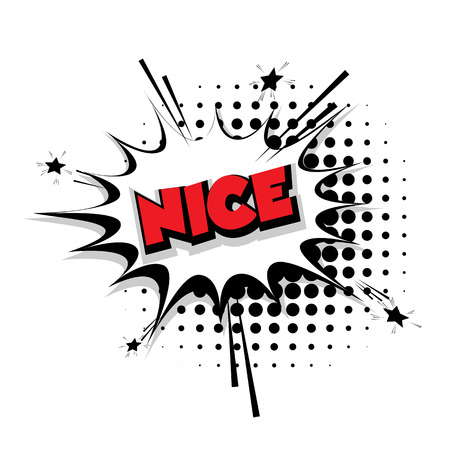 nice france: Lettering Nice Comic text sound effects pop art style vector Sound bubble speech phrase cartoon text cartoon balloon expression sounds illustration Comic text background template. Comics book balloon
