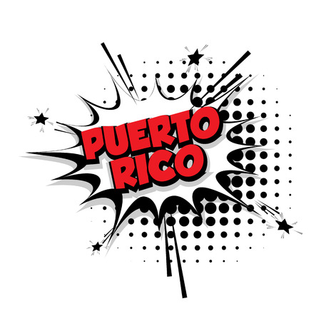 Lettering Puerto Rico Comic text sound effects pop art style vector Sound bubble speech phrase cartoon text cartoon balloon expression sounds illustration Comic text background. Comics book balloon