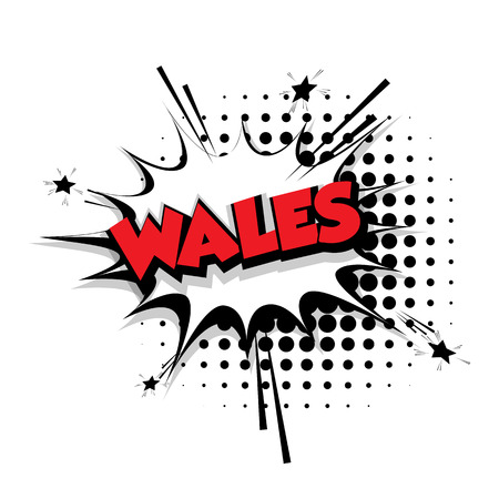 Lettering Wales Comic text sound effects pop art style vector Sound bubble speech phrase cartoon text cartoon balloon expression sounds illustration Comic text background template. Comics book balloon